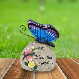 Garden Decorative Buttery Resin Solar Lamp (Size:16x10x20Cm) - Blue and Purple