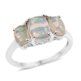 AA Ethiopian Welo Opal (Cush 1.40 Ct) 3 Stone Ring in Platinum Overlay Sterling Silver 2.750 Ct.