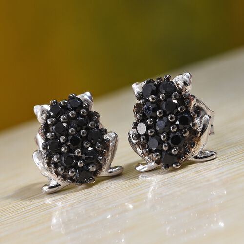 Boi Ploi Black Spinel (Rnd) Frog Earrings (With Push Back) in Platinum Overlay and Black Plating Sterling Silver 0.400 Ct.