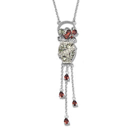 GP Mozambique Garnet, Green Sapphire, Natural Cambodian Zircon and Kanchanaburi Blue Sapphire Necklace (Size 18) in Platinum Overlay Sterling Silver 2.500 Ct, Silver wt 7.15 Gms
