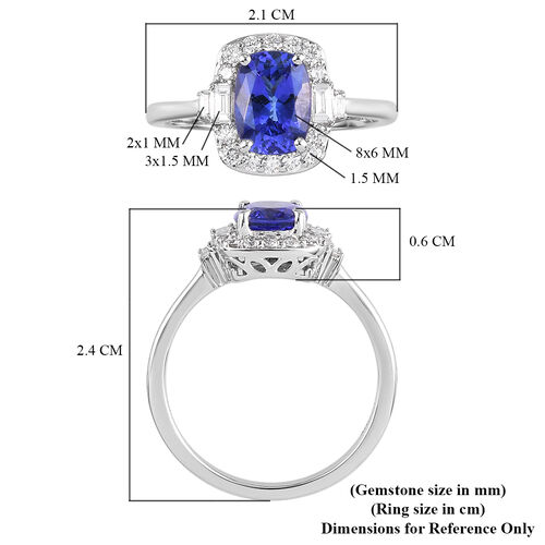 RHAPSODY 950 Platinum AAAA Tanzanite and Diamond Ring 1.75 Ct.