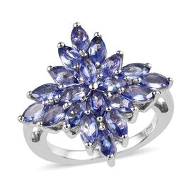 3 Carat Tanzanite Cluster Floral Ring in Platinum Plated Sterling Silver