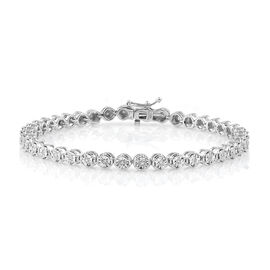 Super Auction- Close Out Deal Diamond (I1-I2) Bracelet (Size 7.25) in Rhodium Overlay Sterling Silve