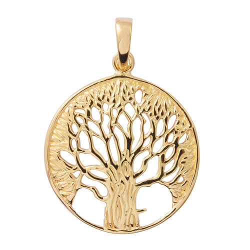Yellow Gold Overlay Sterling Silver Tree of Life Pendant