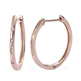 Diamond (Rnd) Hoop Earrings (with Clasp) in Rose Gold Overlay Sterling Silver