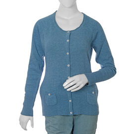 80% Lambs Wool Blue Colour Cardigan