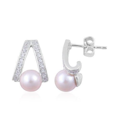 Japanese Akoya Pearl (Rnd), White Zircon Earrings (with Push Back) in Platinum Overlay Sterling Silver 4.300 Ct.