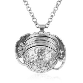Angel Wing Personalised 4 Picture Locket Necklace in Silver Colour Plating (Size 29 with 2.5 inch Ex