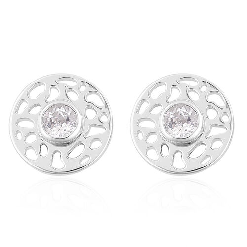 RACHEL GALLEY White Topaz Stud Earrings (with Push Back) in Rhodium Plated Sterling Silver.