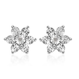 Diamond Floral Stud Earrings (with Push Back) in Sterling Silver
