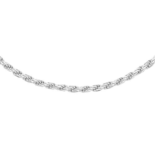 Sterling Silver Diamond Cut Rope Chain (Size 20), Silver wt 6.30 Gms