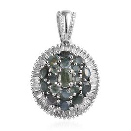 Alexandrite (Ovl and Rnd), Diamond Cluster Pendant in Platinum Overlay Sterling Silver 2.10 Ct.