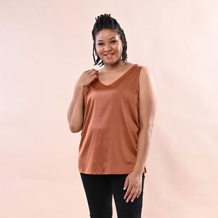 JOVIE Solid Colour Satin Vest - Brown