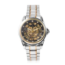 GENOA Automatic Skeleton Water Resistant White Austrian Crystal Studded Watch with Black Hollow-out