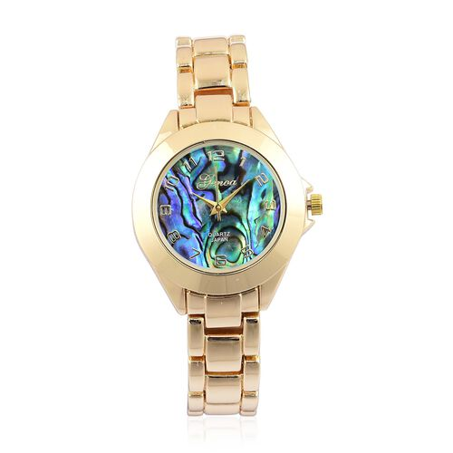 GENOA Japanese Movement Abalone Shell Dial Water Resistant Watch in Yellow Gold Tone with Stainless Steel Back