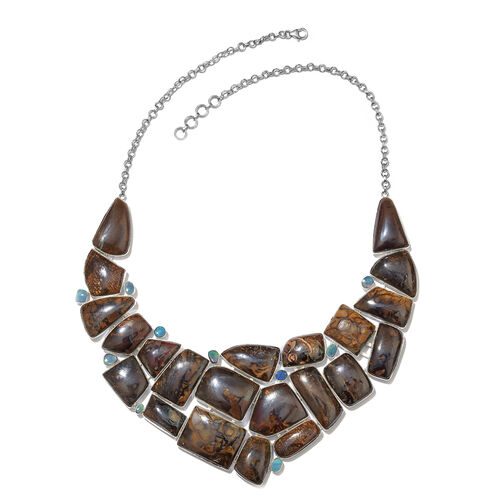 One Off A Kind- Boulder Opal Rock and Opal Double Necklace (Size 18 with 1 inch Extender) in Sterling Silver 635.250 Ct. Silver wt. 69.65 Gms.