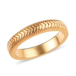 14K Gold Overlay Sterling Silver Band Ring, Silver wt 3.00 Gms