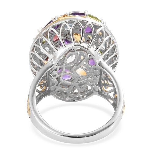 Amethyst (Cush), Sky Blue Topaz, Mozambique Garnet and Multi Gemstone Cluster Ring in Gold and Platinum Overlay Sterling Silver 7.500 Ct. Silver wt 8.50 Gms.