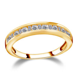 9K Yellow Gold SGL Certified Diamond (Rnd and Bgt) (I3/G-H) Half Eternity Band Ring 0.50 Ct.