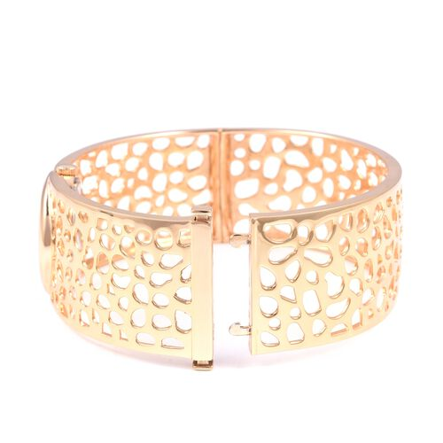RACHEL GALLEY Yellow Gold Plated - Sterling Silver Lattice Bangle Swiss Movement Watch, Silver wt 42 Gms.