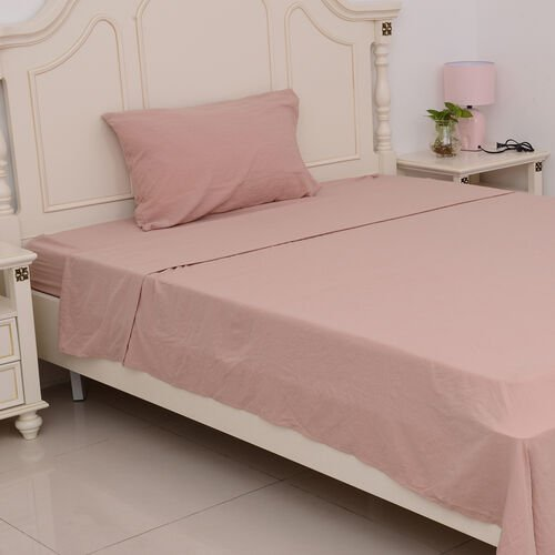 King Size Sheet Set of 4 - Extremely Soft Stone Washed Dusky Rose Colour Fitted Sheet (200x150x30 Cm), Flat Sheet (275x255+5 Cm) and 2 Pillow Cases (75x50+5 Cm)