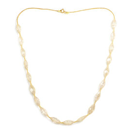 Italian Made - 9K Yellow Gold Cubic Zirconia Tuscan Crochet Necklace (Size 18)
