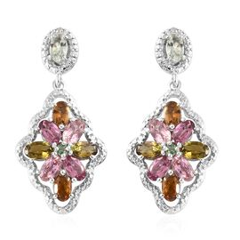 Rainbow Tourmaline (Ovl and Rnd), Diamond Floral Earrings (with Push Back) in Platinum Overlay Sterl