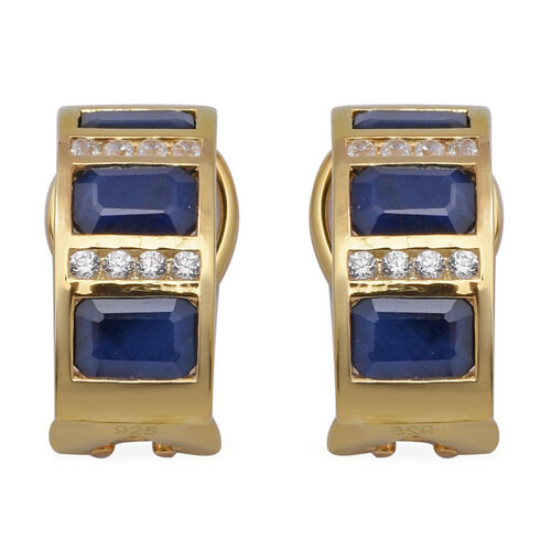Blue Sapphire and Natural Cambodian White Zircon Earrings (with French Clip) in Yellow Gold Overlay
