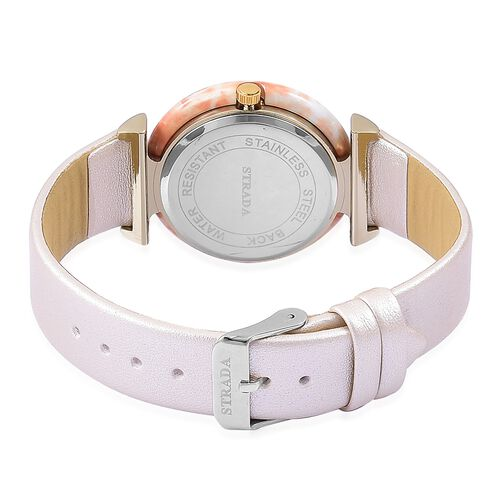 STRADA Japanese Movement White Dial Water Resistant Watch in Yellow Gold Tone with Cream Colour Strap