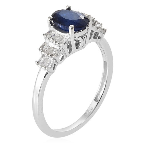 Blue Spinel (Ovl) Diamond Ring in Platinum Overlay Sterling Silver 1.000 Ct.
