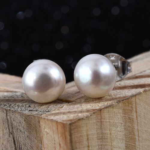 Fresh Water Pearl (6.00 Ct) 9K W Gold Earring  7.200  Ct.