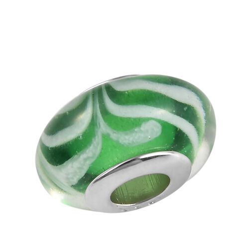 Charmes De Memoire Green and White Murano Style Glass Bead Charm in Platinum Overlay Sterling Silver