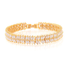 ELANZA Simulated White Diamond (Mrq) Double Strand Bracelet (Size 7) in 14K Gold Overlay Sterling Silver, Silver wt. 18.70 Gms.