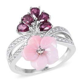 Jardin Collection - Pink Mother of Pearl, Rhodolite Garnet, Natural White Cambodian Zircon Floral Ri