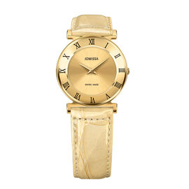 Jowissa - Roma Swiss Watch in Stainless Steel with Laser Engraved Logo and Genuine Leather Gold Colo