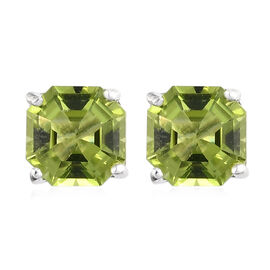 Natural Hebei Peridot Solitaire Stud Earrings (with Push Back) in Sterling Silver 2.25 Ct.