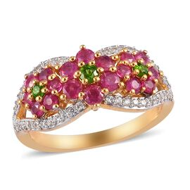 African Ruby, Russian Diopside and Natural Cambodian Zircon Floral Ring in 14K Gold Overlay Sterling