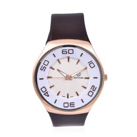 STRADA Japanese Movement Water Resistant Watch with Dark Brown Strap