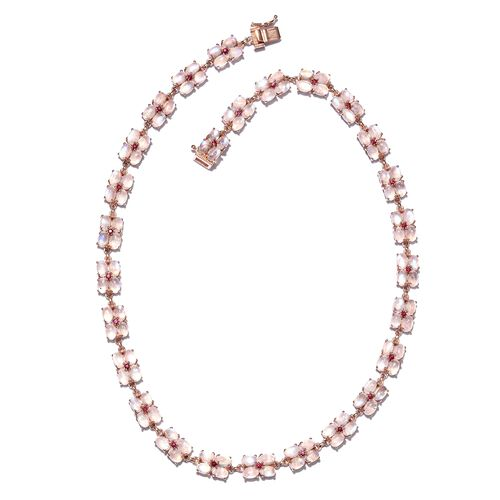 Exclusive Edition-Sri Lankan Rainbow Moonstone (Ovl), African Ruby Necklace (Size 18) in Rose Gold Overlay Sterling Silver 80.500 Ct. Silver wt 23.80 Gms. Number of Gemstone 135
