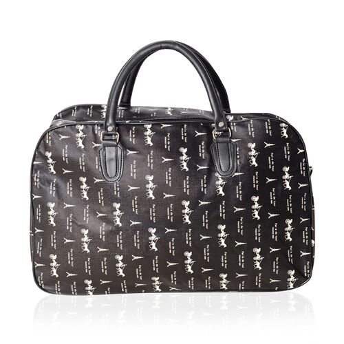 Super Chic Eiffel Tower Print Water Resistan Large Weekend Handbag  with Adjustable and Removable Shoulder Strap (Size 50x30x17 Cm)