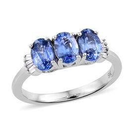 9K White Gold AA Royal Ceylon Sapphire (Ovl), Diamond Ring (Size N) 1.650 Ct.