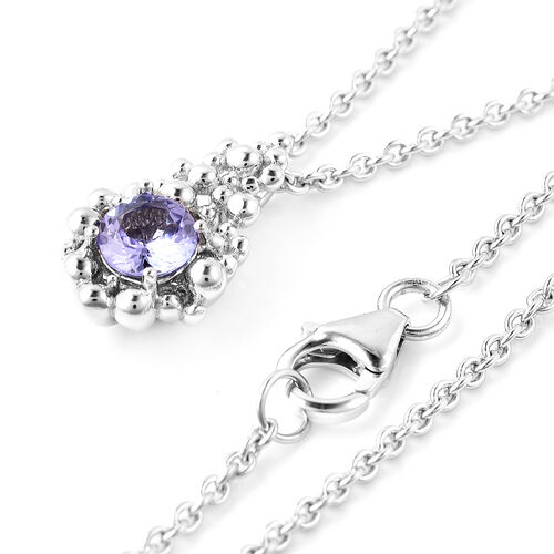 LucyQ Bubble Collection - Tanzanite Pendant With Chain (Size 20) in Rhodium Overlay Sterling Silver