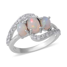 Ethiopian Welo Opal (Ovl), Natural Cambodian White Zircon Ring in Rhodium Overlay in Sterling Silver