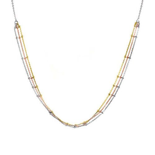 Tri Colour Sterling Silver Triple Strand Beads Adjustable Necklace (Size 20), Silver wt 3.60 Gms.