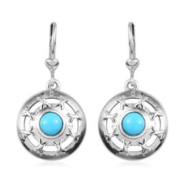 Arizona Sleeping Beauty Turquoise Lever Back Earrings in Platinum Overlay Sterling Silver 1.00 Ct, S