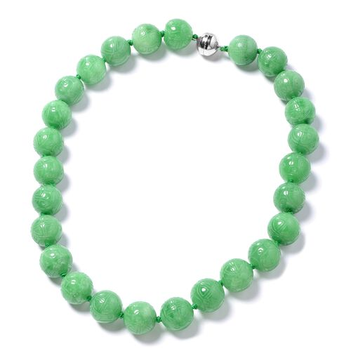 Extremely Rare Carved Green Jade (Rnd 16mm-18mm) Necklace (Size 20) with Magnetic Clasp in Rhodium O