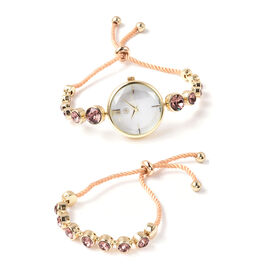 2 Piece Set - GENOA Japanese Movement Vintage Rose Swarovski Crystal Studded Water Resistant Bracele
