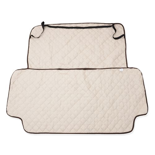 Water Repellent and Quilted Car Back Seat Protecter - Double Face Chocolate and Cream Colour (133x59 Cm)