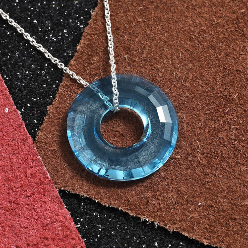 J Francis Swarovski Aquamarine Crystal Circle Pendant with Chain in Platinum Plated Sterling Silver