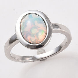 AA Ethiopian Welo Opal (Ovl 9x7mm) Solitaire Ring in Platinum Overlay Sterling Silver 1.15 Ct.